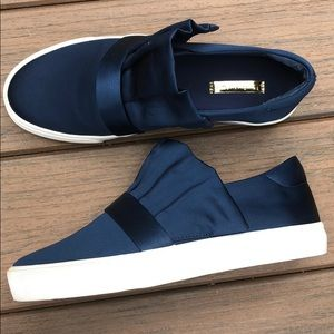 LOUISE ET CIE Blue Luxe Satin Sneakers